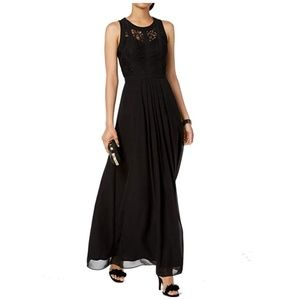 Betsy and Adam Black Lace Gown Caged Long Dress
